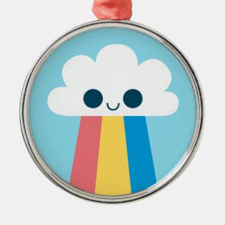 かわいく幸せな虹の雲 メタルオーナメント