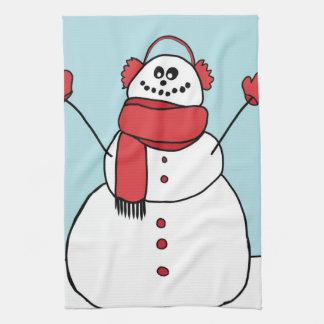 かわいく幸せな雪だるま キッチンタオル