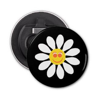 かわいく幸せな顔の黒のガーリーな白いデイジーの花 栓抜き
