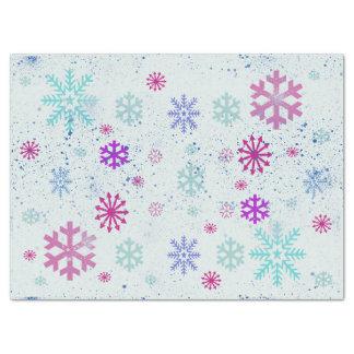 かわいく幾何学的な雪片の雪の冬 薄葉紙