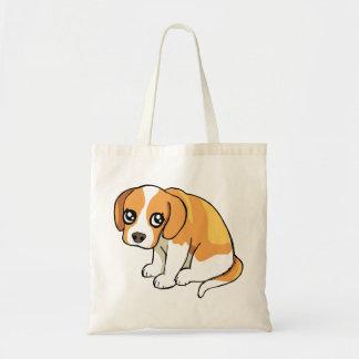かわいく悲しいブラウンのビーグル犬の小犬のスケッチのトートバック トートバッグ
