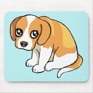 かわいく悲しいブラウンのビーグル犬の小犬のスケッチのマウスパッド マウスパッド