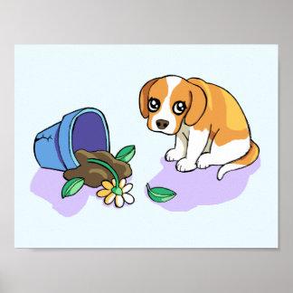 かわいく悲しいブラウンのビーグル犬の小犬のスケッチポスター ポスター
