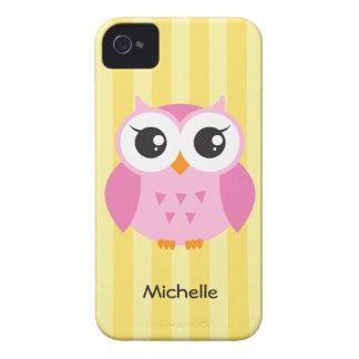 かわいく愛らしいピンクのフクロウの動物の漫画の黄色の名前 Case-Mate iPhone 4 ケース