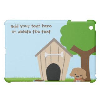 かわいく愛らしい漫画の小犬および犬小屋のipad iPad mini カバー