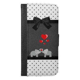 かわいく愛らしい象、水玉模様、黒い弓 iPhone 6/6S PLUS ウォレットケース