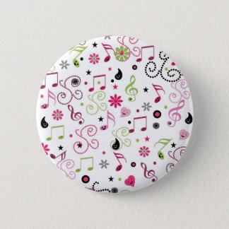 かわいく愛らしくにこやかな音楽は花に注意します 5.7CM 丸型バッジ