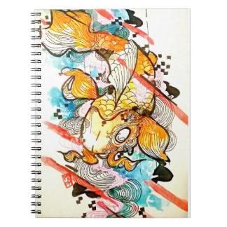 かわいく日本のなコイの魚の水彩画の芸術 ノートブック