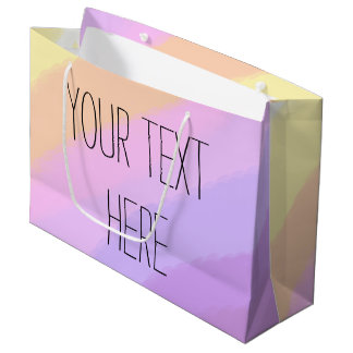 かわいく明るいネオンブラシストロークユニコーン色 ラージペーパーバッグ