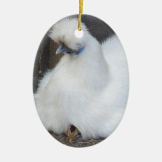 かわいく柔らかく白い鶏およびひよこのオーナメント セラミックオーナメント