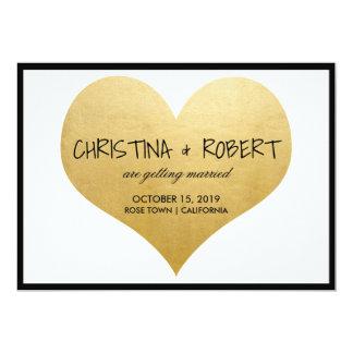 かわいく模造のな金ゴールドホイルのハートの保存日付の結婚式 カード