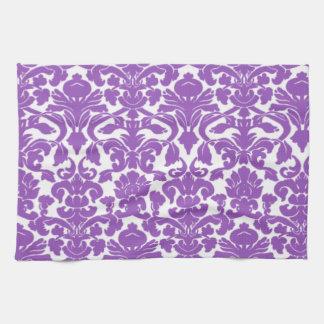 かわいく深い薄紫のダマスク織パターン キッチンタオル