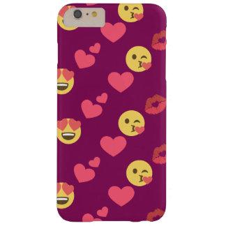かわいく甘いピンクのEmoji愛ハートのキスパターン Barely There iPhone 6 Plus ケース