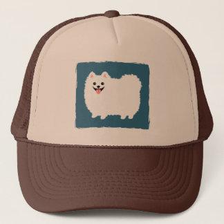 かわいく白いポメラニア犬 キャップ