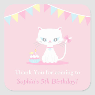 かわいく白い子猫猫はパーティのステッカー感謝していしています スクエアシール