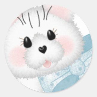 かわいく白い子猫 ラウンドシール