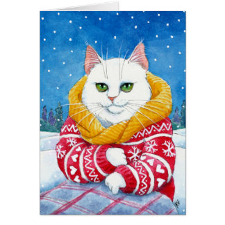 かわいく白い猫のクリスマスまたは冬カード カード