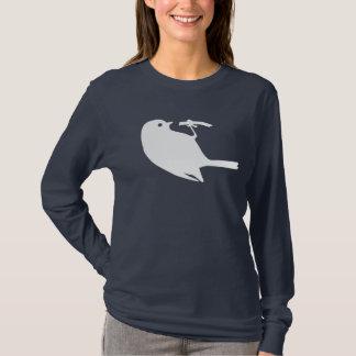 かわいく白い《鳥》アメリカゴガラの鳥のシルエットのグラフィック Tシャツ
