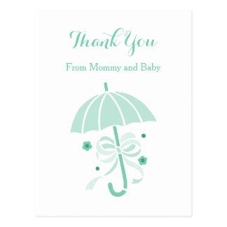 かわいく真新しい傘および弓ベビーシャワーは感謝していしています ポストカード