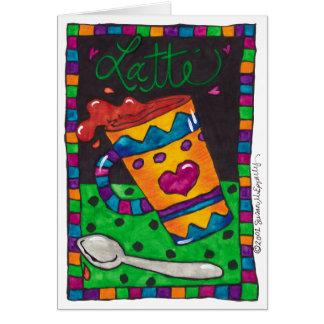 かわいく空白のでカスタマイズ可能なラテの芸術のイラストレーション カード
