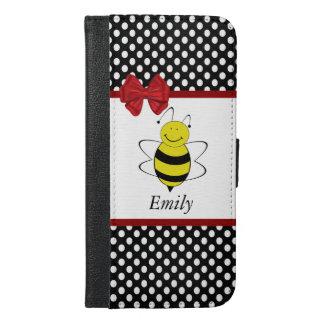 かわいく粋でガーリーでおもしろいな蜂の水玉模様のモノグラム iPhone 6/6S PLUS ウォレットケース