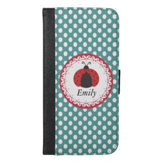 かわいく粋でガーリーなてんとう虫の水玉模様のモノグラム iPhone 6/6S PLUS ウォレットケース