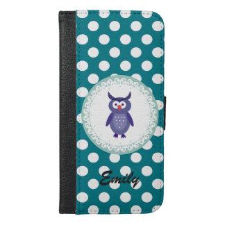 かわいく粋でガーリーな漫画のフクロウの水玉模様のモノグラム iPhone 6/6S PLUS ウォレットケース