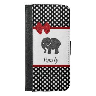 かわいく粋でガーリーな象の水玉模様のモノグラム iPhone 6/6S PLUS ウォレットケース