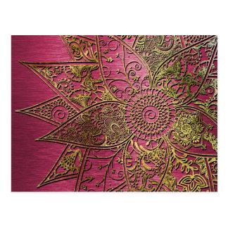 かわいく粋な花のhennaの手描きのデザイン ポストカード