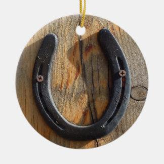 かわいく素朴な西部の幸運の蹄鉄の木製の一見 セラミックオーナメント