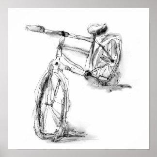 かわいく芸術的なバイクのスケッチ ポスター