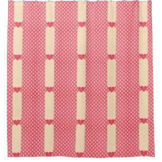 かわいく華美なピンクのダマスク織およびハートパターン シャワーカーテン