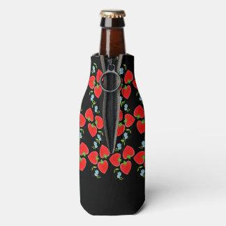 かわいく赤いいちごおよびDitsyの青の花 ボトルクーラー