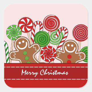 かわいく赤いクリスマスのジンジャーブレッド スクエアシール