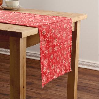 かわいく赤いクリスマスの雪片-クリスマスのギフト ショートテーブルランナー