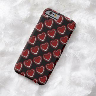 かわいく赤い及び銀製のダイヤモンドのハートw/BlackのiPhone Barely There iPhone 6 ケース
