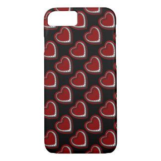 かわいく赤い及び銀製のダイヤモンドのハートw/BlackのiPhone iPhone 8/7ケース