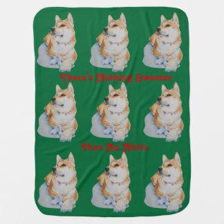 かわいく赤い日本人の秋田ペットポートレートの芸術犬 ベビー ブランケット
