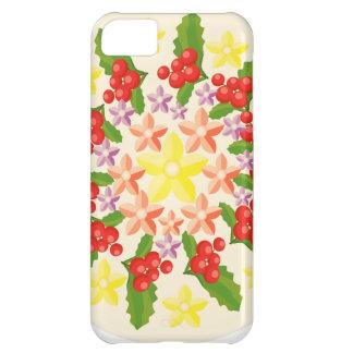 かわいく赤い果実の花輪パターン iPhone5Cケース