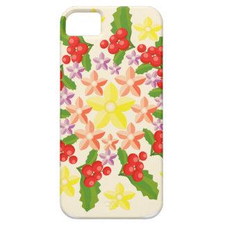 かわいく赤い果実の花輪パターン iPhone SE/5/5s ケース