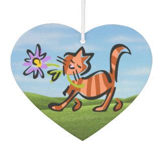 かわいく赤い虎猫の漫画猫 カーエアーフレッシュナー