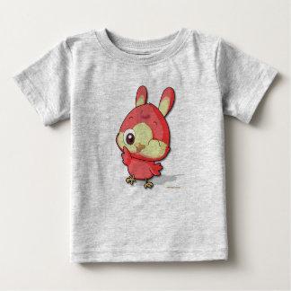 かわいく赤い鳥のティーのおもしろいなマンガのキャラクタのTシャツ ベビーTシャツ
