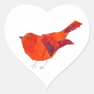 かわいく赤い鳥 ハートシール