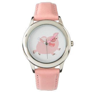 かわいく陽気な漫画のブタの腕時計 腕時計