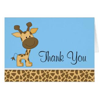 かわいく青いキリンは感謝していしています カード