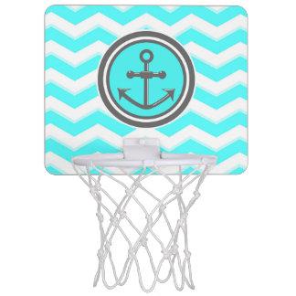 かわいく青いシェブロンパターンいかりのスマイル ミニバスケットボールゴール