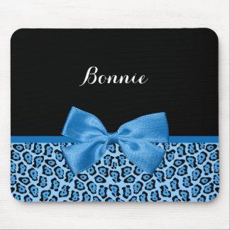 かわいく青いジャガーのプリントの明るい一流および一流 マウスパッド
