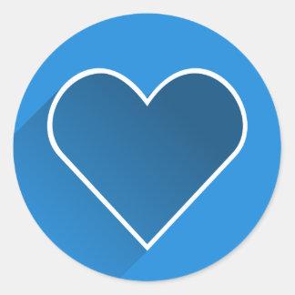 かわいく青いハートのバレンタインデーの円形のステッカー ラウンドシール