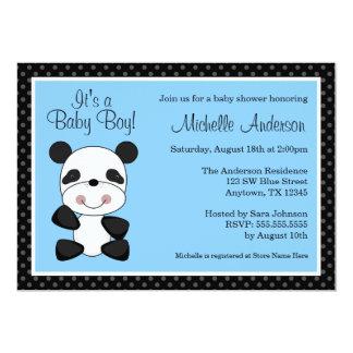 かわいく青いパンダのベビーシャワー招待状 カード
