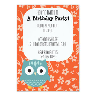 かわいく青いフクロウのパーティの招待状 カード